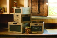 Rustic Wood Chalkboard Wine Crate - For rustic storage and organization, try wooden crates or wire baskets. Old Crates, Wooden Crates, Wooden Boxes, Wine Crates, Wine Boxes, Eclectic Storage Boxes, Crate Storage, Storage Ideas, Pantry Storage