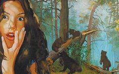 A parody by Vladimir Dubrossarky and Alexander Vinogradov: a heroine is placed in painter Ivan Shishkin's