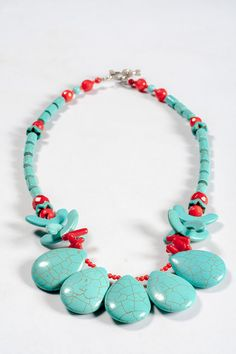 Turquoise and Coral Necklace by OurSerendipityStones on Etsy