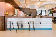 Community bar at WeWork's coworking space in New York's Hell Kitchen