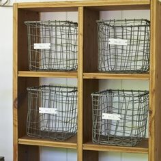 Set of 4 vintage style wire baskets. Incredible useful for arranging and displaying all kinds of stuff.