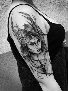Portrait Ink Black Arm Tattoo Design For Women (female) Bild Tattoos, Arm Tattoos, Body Art Tattoos, Tribal Tattoos, Sketch Style Tattoos, Tattoo Sketches, Piercings, Tattoos For Guys, Tattoos For Women
