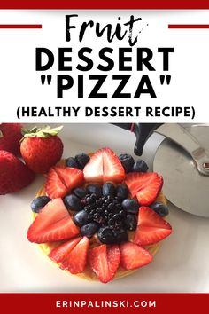 This fruit dessert pizza is a delicious healthy dessert for kids and adults alike. Just take a frozen whole grain waffle, spread it with peanut butter, and top with fruit! You'll love this easy fruit dessert recipe.