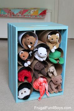 Wooden Crate Stuffed Animal Storage and Play - Toddlers love to take things in and out of the compartments! Fun storage idea for older kids too.