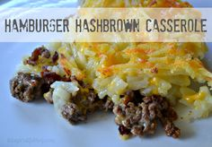 Hamburger Hashbrown Casserole , , , I didn't layer things, just stirred it all together and baked it up. Winner with the family. Hamburger Hash Brown Casserole is the perfect quick and easy dinner to throw together on a busy night. Hashbrown Casserole, Casserole Dishes, Casserole Recipes, Beef Casserole, Cheeseburger Casserole, Beef Dishes, Food Dishes, Main Dishes, Arroz Frito