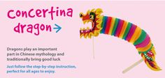 Concertina Dragon | Craft Ideas at Patticrafts