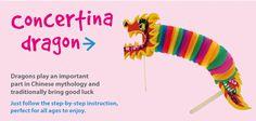Concertina Dragon   Craft Ideas at Patticrafts