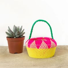 POP! COLLECTION by Hejsan Goods. I love this super cute beaded basket. It would be perfect for showing off your cacti and succulents
