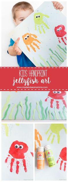Kids Handprint Jellyfish Art: celebrate summer with this fun handprint kids craft! Kids Handprint Jellyfish Art: celebrate summer with this fun handprint kids craft! Summer Crafts For Toddlers, Craft Activities For Kids, Diy For Kids, Craft Kids, Vocabulary Activities, Montessori Activities, Preschool Activities, Ocean Crafts, Baby Crafts