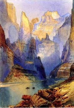 Zion Valley, by Thomas Moran, 1873. Watercolor, and so beautiful! Want an enlarged print to hang in the entry.