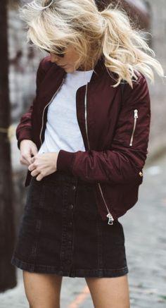 fall fashion burgundy jacket