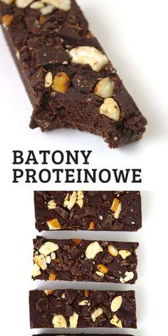 Bardzo proste batony proteinowe z orzechów bez pieczenia. Batoniki bez płatków owsianych więc naturalnie bezglutenowe, bez rafinowanego cukru, bo słodzone daktylami. Pyszna i zdrowa przekąska. SKŁADNIKI: 50 g migdałów 50 g nerkowców 50 g masła orzechowego 120 g daktyli 70 g odżywki białkowej (dowolny smak) 2 łyżki kakao (ok. 25 g) 2-3 łyżki wody 20 g czekolady gorzkiej Food And Drink, Healthy Eating, Menu, Healthy Recipes, Cooking, Sweet, Fitness, Desserts, Diet