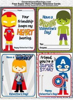 Superhero Valentines Cards, Free Printables, Free Printable Valentines Day Cards - Visit to grab an amazing super hero shirt now on sale! My Funny Valentine, Valentines Day Bags, Kinder Valentines, Printable Valentines Day Cards, Valentines For Boys, Valentine Day Crafts, Valentine Nails, Valentine Ideas, Valentine's Cards For Kids