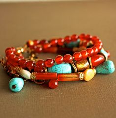 Red Turquoise Gold Gold Coral MultiStrand Gemstone Bracelet; Georgette Woo