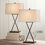 Buy Megan Modern Table Lamps Set of 2 with Hotel Style USB Charging Port LED Bronze Metal Rectangular Fabric Shade for Living Room Bedroom - Franklin Iron Works Bedroom Lamps, Living Room Bedroom, Living Room Lamps, Bedroom Ideas, Bed Room, Master Bedrooms, Living Rooms, Bedroom Lighting, Bedroom Decor