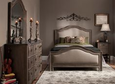 If you crave a classic look in your master suite, you're in for a treat with this Cobblestone 4-piece king bedroom set.