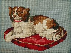 ANTIQUE VICTORIAN BERLIN WOOLWORK EMBROIDERY - PET SPANIEL DOG on CUSHION