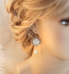 Vintage Bridal Pearl Chandelier Earrings Dangle by LottieDaDesigns