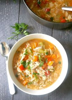 Leftover Turkey Rice Soup, a quick and easy recipe for chilly days. This hearty homemade soup is loaded with veggies for extra goodness, it's healthy, and ready in well under 30 minutes. A favourite soup with kids and grown-ups alike, the soup can be made with leftover chicken too, or any other leftover meat. Comfort food at its best. #soup, #cillydaysfood, #leftoverturkey, #turkeysoup, #rice Veggie Recipes, Lunch Recipes, Soup Recipes, Healthy Recipes, Fall Recipes, Yummy Recipes, Leftovers Recipes, Quick Dinner Recipes, Quick Easy Meals