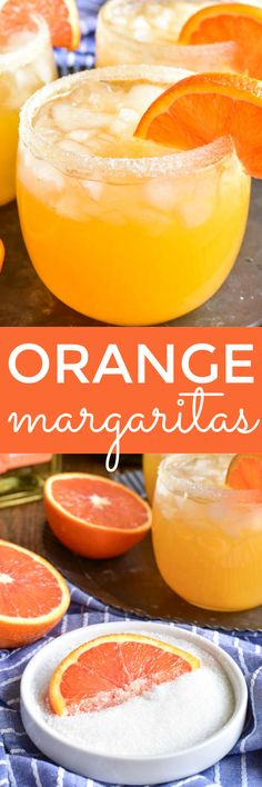Orange Margaritas are a delicious cocktail that's guaranteed to get the party started! Perfect for your next happy hour, ladies' night, or taco Tuesday, this simple recipe is a delicious twist on a classic. It's easy to make – with just four ingredients – Refreshing Drinks, Summer Drinks, Cocktail Drinks, Fun Drinks, Cocktail Recipes, Alcoholic Drinks, Pool Drinks, Beverages, Alcohol Drink Recipes