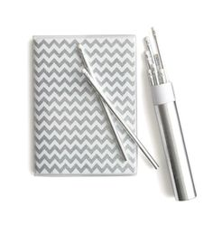 J.Crew glitter chevron-stripe notebook & pencil set.