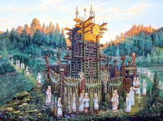 Extraordinary & Magical Russian Folk and Myth Drawings Russian Folk, Russian Art, Russian Style, Auras, Fantasy Landscape, Fantasy Art, Fantasy Paintings, Eslava, Odin And Thor