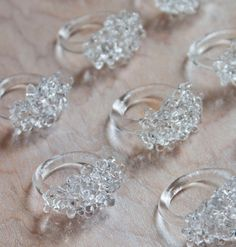 Glass Cluster Ring Clear by ArlieTrowbridgeEtsy on Etsy