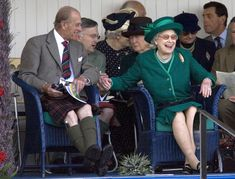 Prince Philip and Queen Elizabeth II at the Braemar Highland Games, Braemar, Scotland, 1 Sep 2007