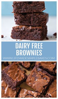 Thick, rich, and chewy dairy free brownies are made from scratch and ready in just 45 minutes. These irresistible bars taste just as good as their buttery counterpart. #dairyfreebrownies #brownies #dairyfree #chocolate #dessert Fun Baking Recipes, Dessert Recipes, Cooking Recipes, Desserts, Dairy Free Dark Chocolate, Dark Chocolate Chips, Brownies Without Butter, Dairy Free Brownies, Brownie Bar