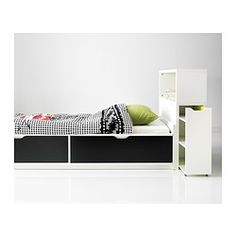 Flaxa Bed Frame W/storage+slatted Bedbase, White