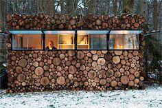 A modern log cabin.