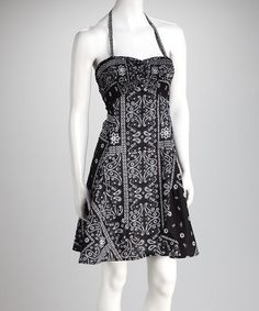 Take a look at this Black & White Bandana Halter Dress by Peppermint Bay on #zulily today!