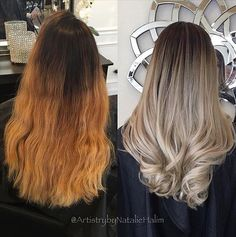 Ombré color correction by @artistrybynataliehalim. She created a softer transition by lightening up her hair, and removing the brassy tones to create a cool beige blonde. ✨ Formula: Matrix LightMaster lightener+ 30 vol (9%) at the bottom and 40vol (12%) towards the top + Olaplex No.1. Rinse. Toner: Matrix ColorSync 8a+10v. Rinse, apply Olaplex No.2 for 10min. #Olaplex #colorcorrection #ashblonde #blonde #hairlove #haircolor