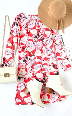 Santa Claus Print Shift Dress