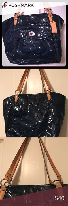 Navy and tan Coach handbag Gently used navy Coach handbag Coach Bags Shoulder Bags
