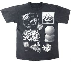90's M.C.エッシャー だまし絵 総柄 Tシャツ 実寸(L位)