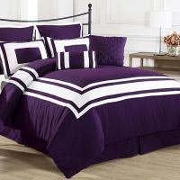 Black Bedding Sets King - Home Furniture Design Plum Bedding, Purple Bedding Sets, Grey Comforter Sets, Black Bedding, Queen Comforter Sets, Bedroom Black, Purple Bedroom Decor, Purple Comforter, Master Bedroom