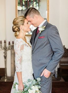The Villa San Juan Capistrano Romantic and Rustic Wedding with the Bride and Groom, grey grooms suit for vintage wedding, lace sleeved bridal gown, fall wedding flowers