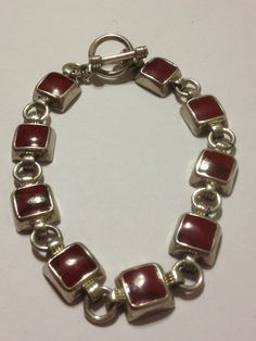 Hallmarked Solid 925 Sterling Silver Faceted Garnet Red CZ Cubic Zirconia Link Bracelet with Toggle and T Bar Clasp Birthday Gift For Her