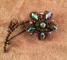 Vintage West Germany AB Rhinestone and Gold by CrowsNestAntiques