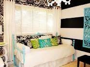 girls bedroom idea black and white
