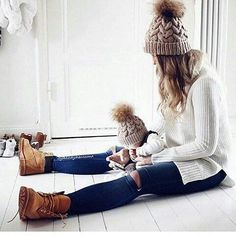 Mother And Daughter Wool Knit Beanie Ski Cap Baggy Womens Winter Warm Hat 3993ef5cbe0