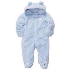e339dcfa51 Carter s Boys Blue Bear Hooded Velboa Pram with Applique and Foot Art  (little bear face