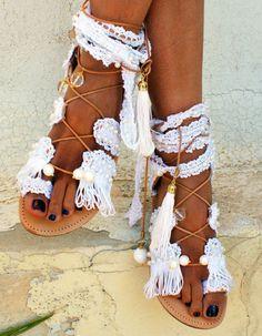 edabee3d693 Boho sandals fashion trend: Princess Wedding sandals at Mago Sisters  #bohemianfashion, Σαγιονάρες,
