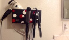Black with red and white circles - Bathroom Organizer - Curling Iron, Hair Dryer and Straightener Holder with Plug on Etsy, $35.00