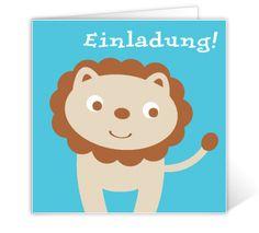Kommunionskarte Blau mit Löwe
