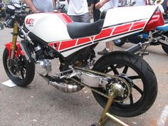 "Trick RZ350. Single side swinger, USD forks, ""GP"" pipes."