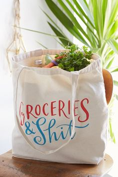 Shop Emily McDowell Grocery Bag at Urban Outfitters today. Things To Buy, Things I Want, Stuff To Buy, Dinnerware Sets, Diy Gifts, House Warming, Shopping Bag, Urban Outfitters, Arts And Crafts