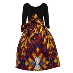 Amsa African Print Midi Skirt with Sash (Red/Blue/Yellow) ~African fashion, Ankara, kitenge, African women dresses, African prints, Braids, Nigerian wedding, Ghanaian fashion, African wedding ~DKK