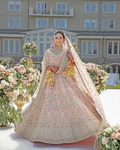 Getting Married In the Day? Here Are Our Favorite Bridal Lehenga Colors! Designer Bridal Lehenga, Pink Bridal Lehenga, Lehenga Wedding, Desi Wedding, Wedding Pastel, Lehenga Reception, Wedding Mandap, Wedding Stage, Gothic Wedding